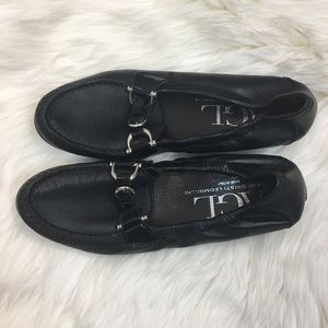 AGL Black Leather Moccasin Loafers Size 38 1/2